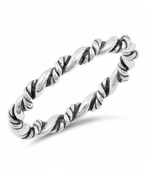 Oxidized Twist Stackable Sterling Silver