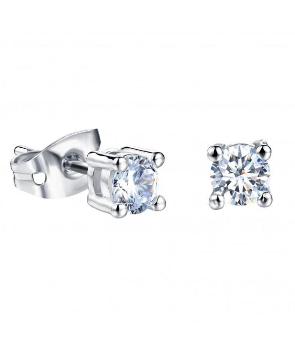 Platinum Titanium Princess Rhinestone Earrings