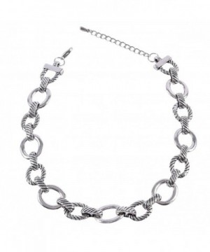 Silver Tone Textured Oval Necklace