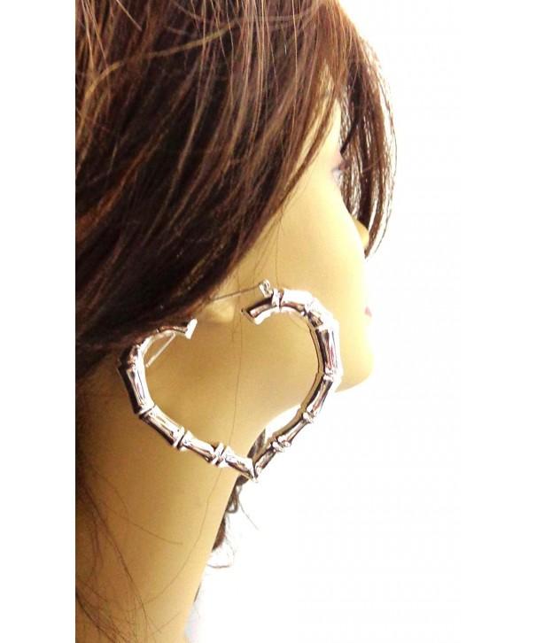 Heart Earrings Bamboo Silver silver
