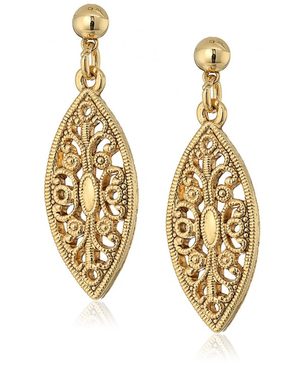 1928 Jewelry Gold Dipped Filigree Earrings