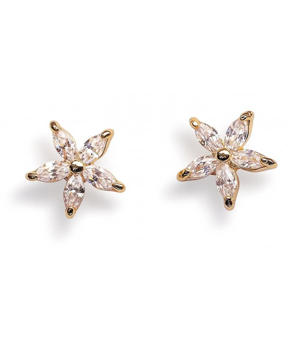 Stud Earrings Flower Cubic Zirconia