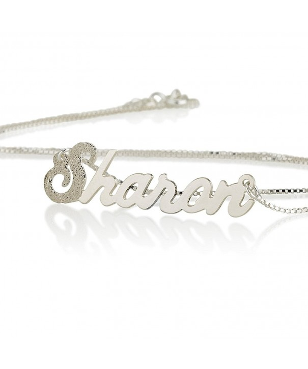 Silver Necklace First Letter Sparkling