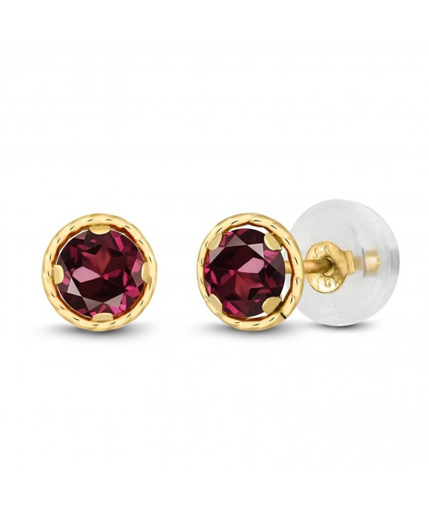 Round Rhodolite Garnet Yellow Earrings