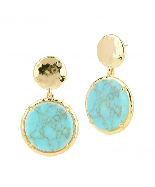 Hammered Dangling Earrings Reconstituted Turquoise