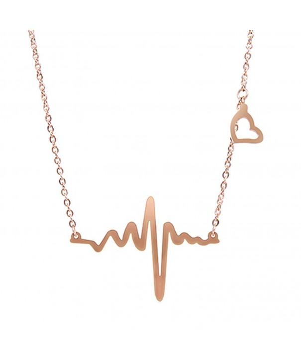 RoseSummer Electrocardiogram Pendant Heartbeat Necklace