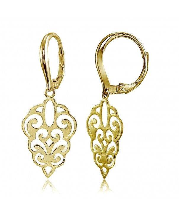 Sterling Polished Filigree Leverback Earrings