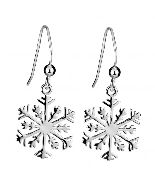 Sterling Silver Snowflake French Earrings