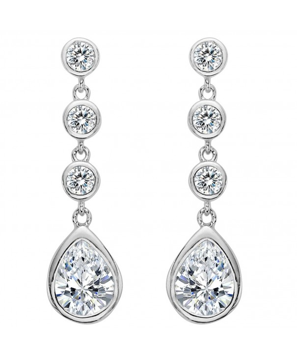 EleQueen Sterling Zirconia Teardrop Earrings