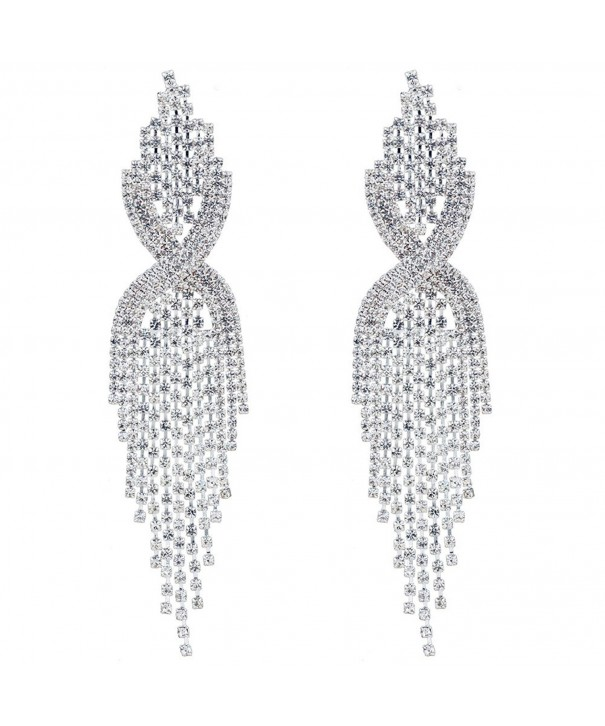 CHRAN Rhinestone Tassels Chandelier Earrings