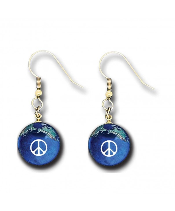 Peace Earrings Marbles Natural Continents