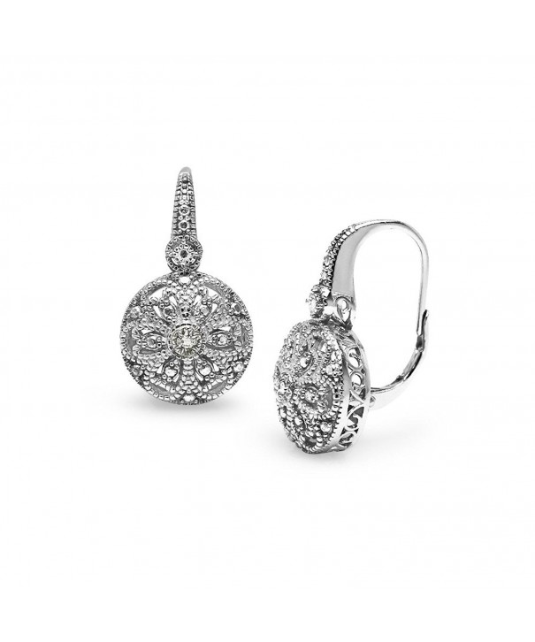 Sterling Filigree Diamond Leverback Earrings