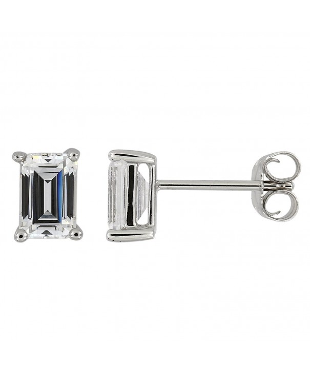 Sterling Approximate Emerald Cut Zirconia Earrings