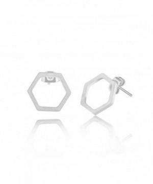 Silver Single Honeycomb Post Earrings
