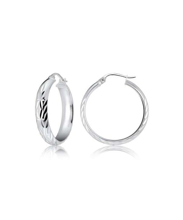 Sterling Silver Design Diamond Cut Earrings