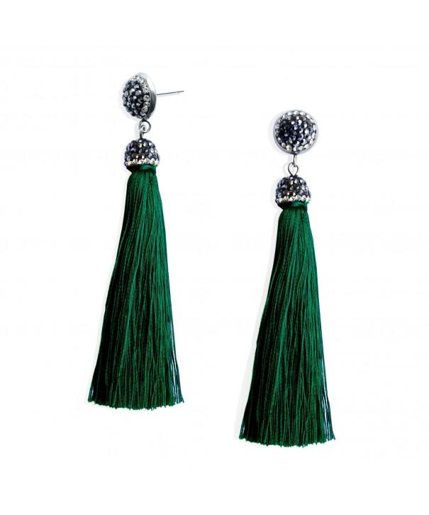 Womens Thread Tassel Earrings Rhinestones