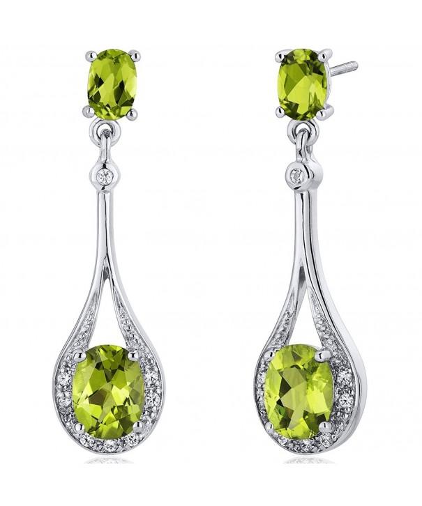 Peridot Dangle Earrings Sterling Silver