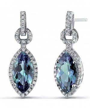Simulated Alexandrite Marquise Earrings Sterling