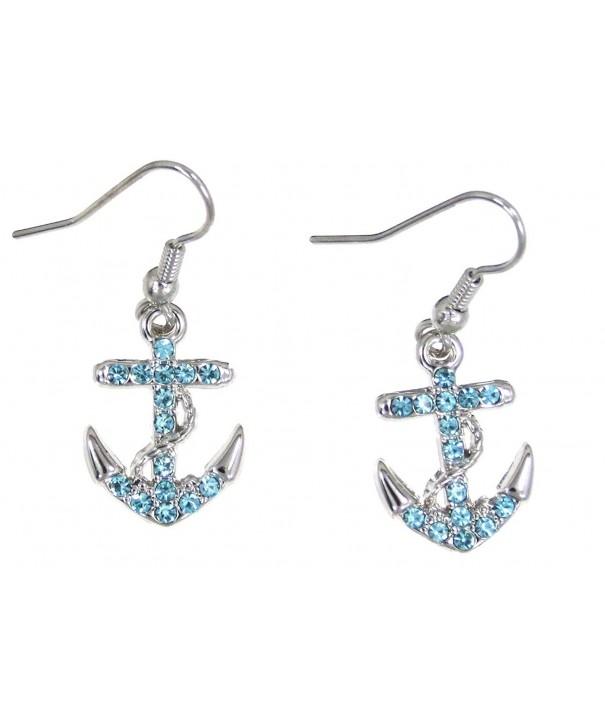 Anchor Rope Dangle Earrings Blue