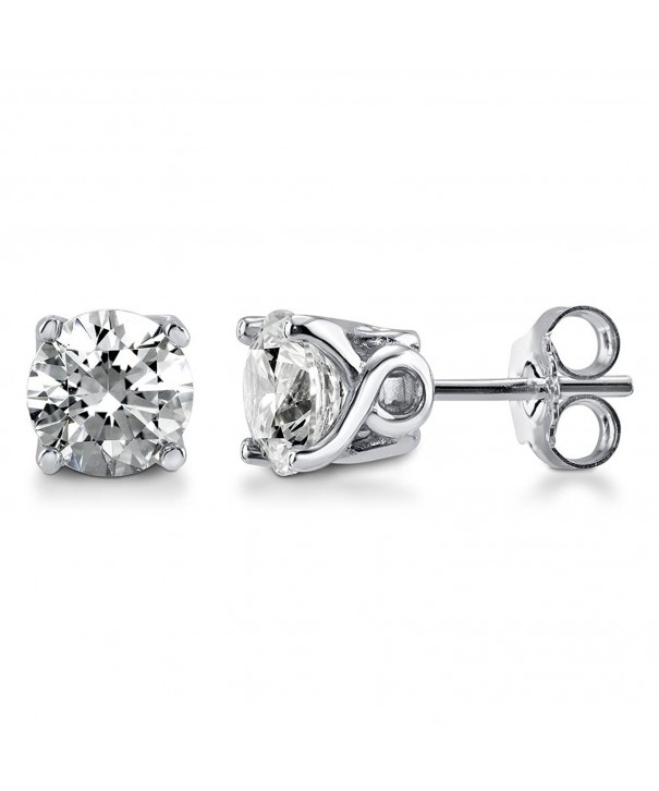 BERRICLE Sterling Solitaire Earrings Swarovski