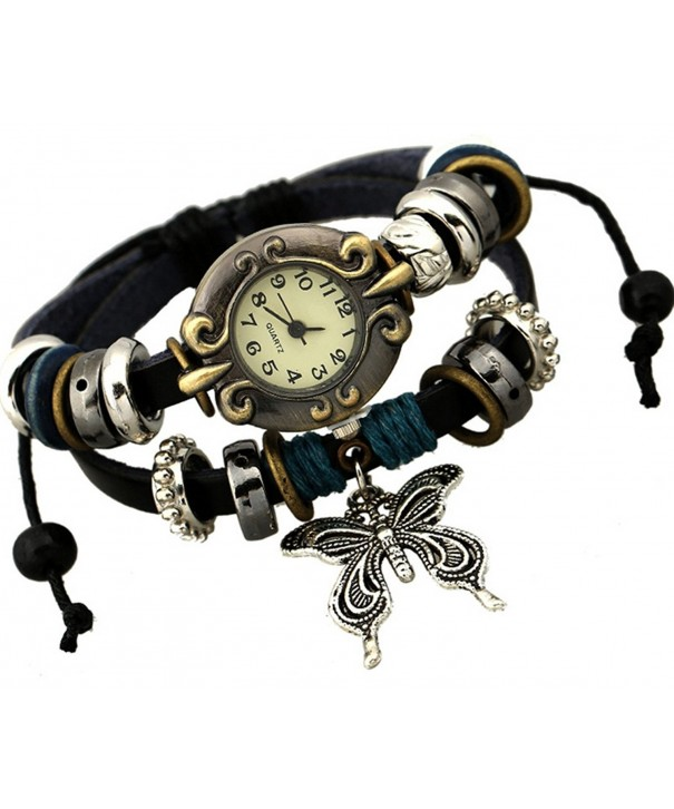 Retro Butterfly Leather Multistrand Bracelet