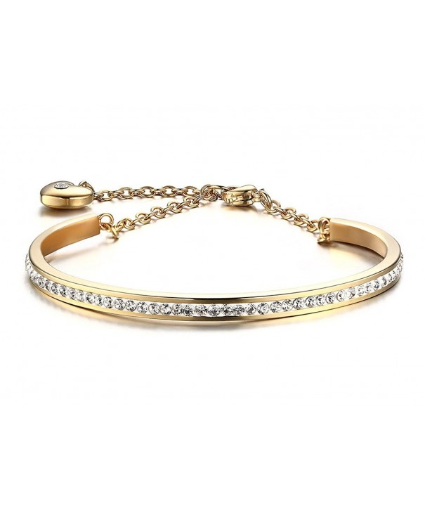 Stainless Crystal Bangle Bracelet Extend