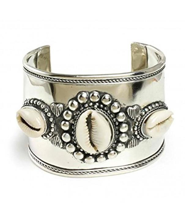 Wide Silver Cowrie Shell Bracelet