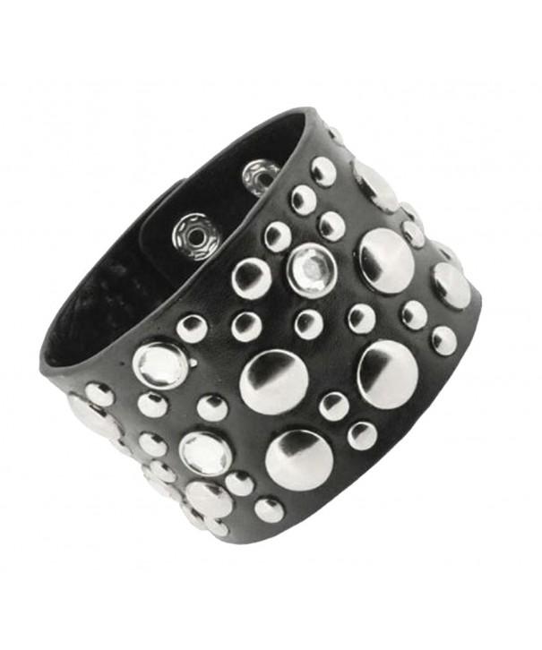 Unisex Studded Leather Bracelet Rhinestones