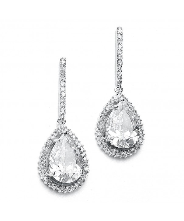 Mariell Pear Shaped Wedding Teardrop Earrings