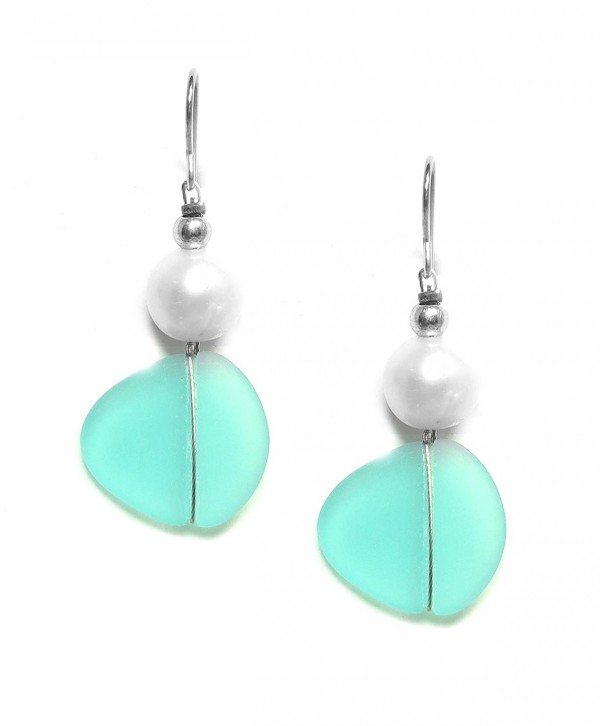 Solares Silvertone Glass Earrings Accent