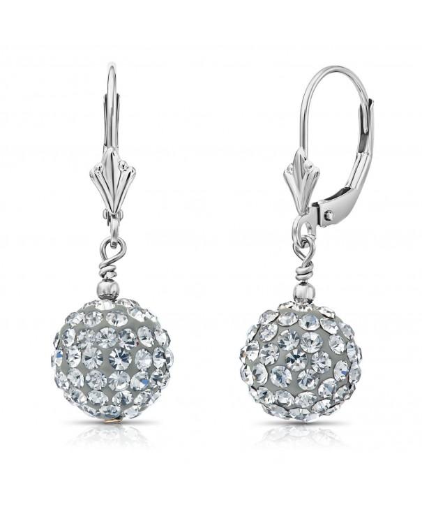 Sterling Silver Crystal Earrings Leverbacks