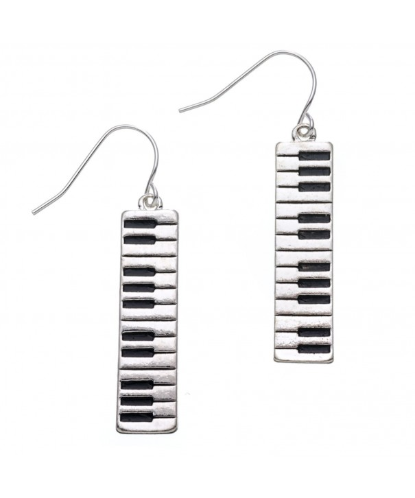 PammyJ Silvertone Keyboard Dangle Earrings