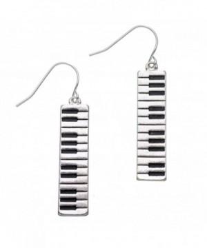PammyJ Silvertone Keyboard Dangle Earrings