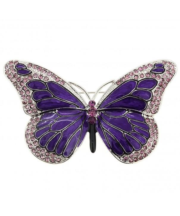 Purple Enamel Crystal Butterfly Brooch