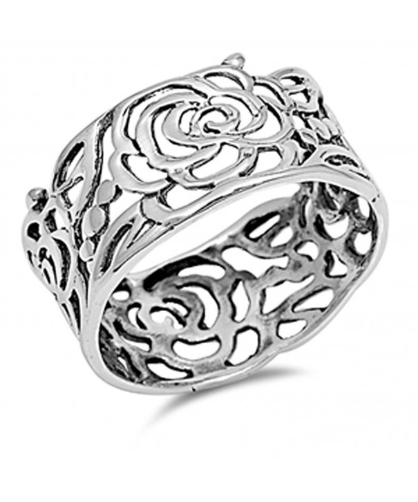 Womens Flower Cutout Sterling Silver