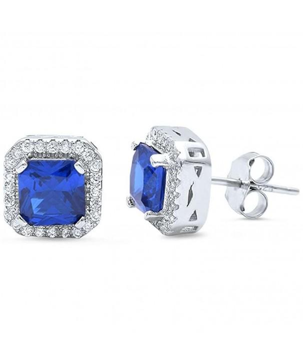Earrings Princess Simulated Blue Sapphire