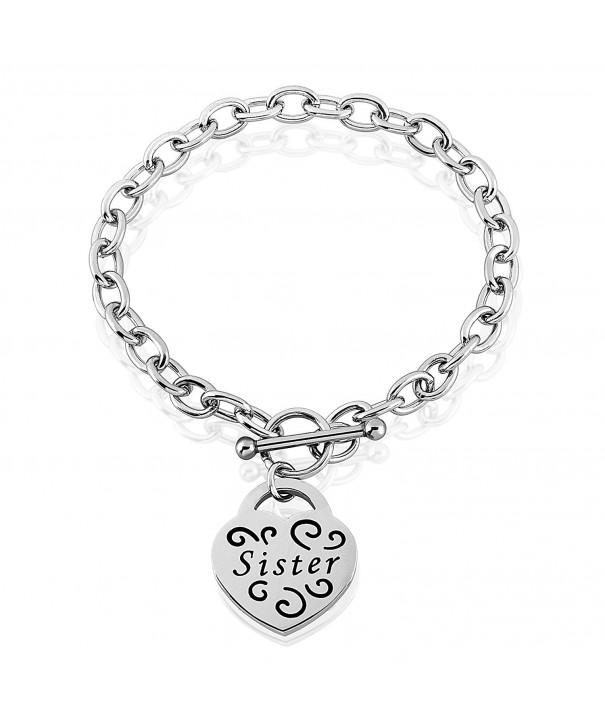 Womens Stainless Engraved Sister bracelet