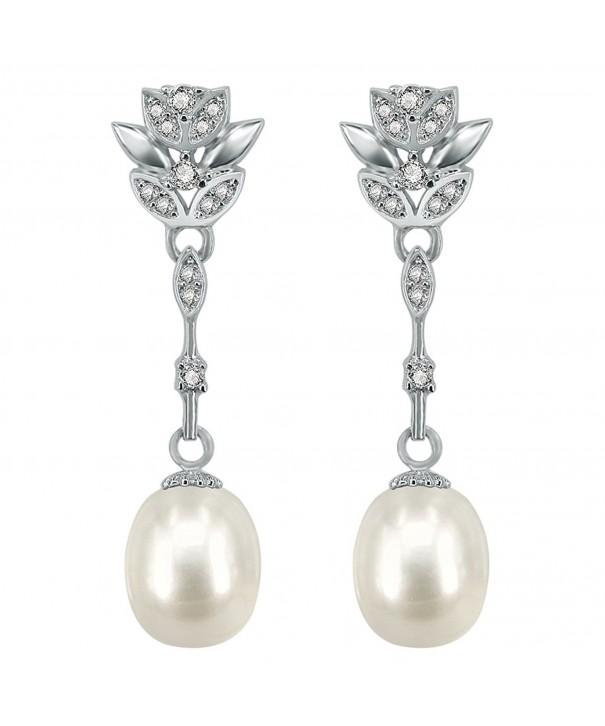 Freshwater Earrings Zirconia Sterling Jewelry