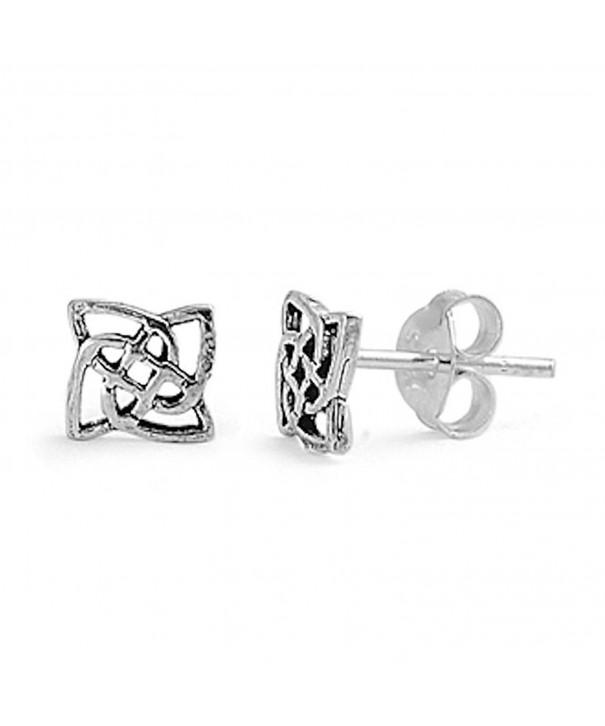 Square Celtic Design Earrings Sterling