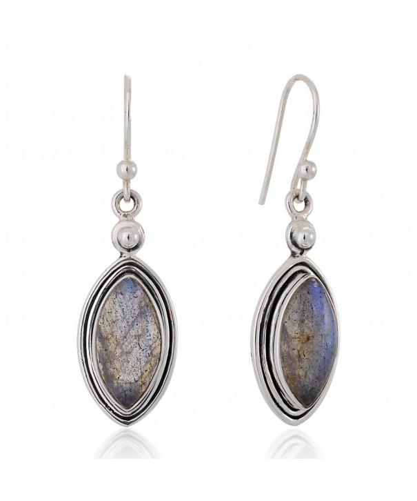 Sterling Labradorite Gemstone Marquise Earrings
