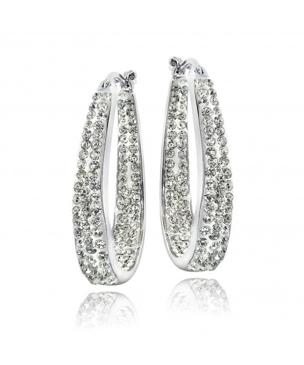 Silver Tone Crystal Inside Out Earrings