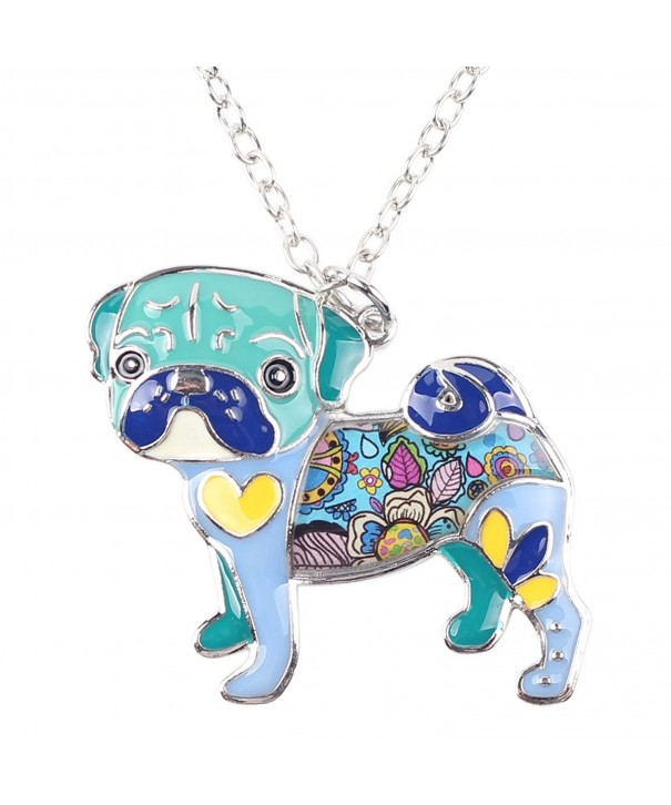 Bonsny Enamel Necklace Bulldog pendant