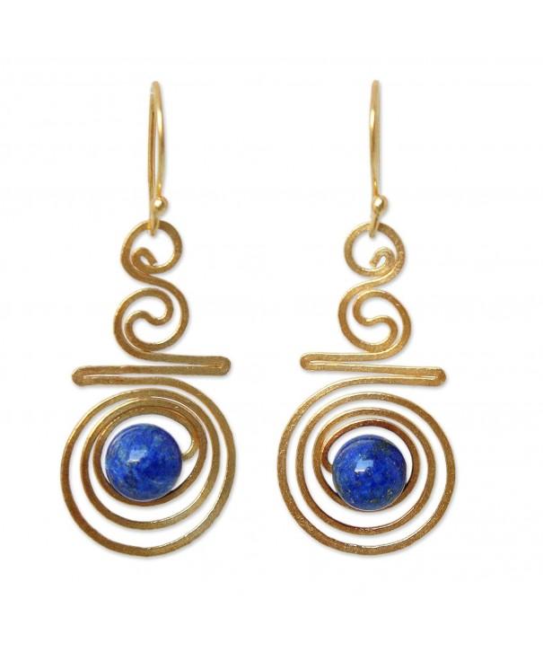 NOVICA Crafted Lazuli Yellow Earrings