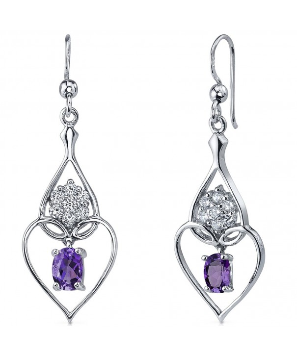 Amethyst Dangle Earrings Sterling Rhodium
