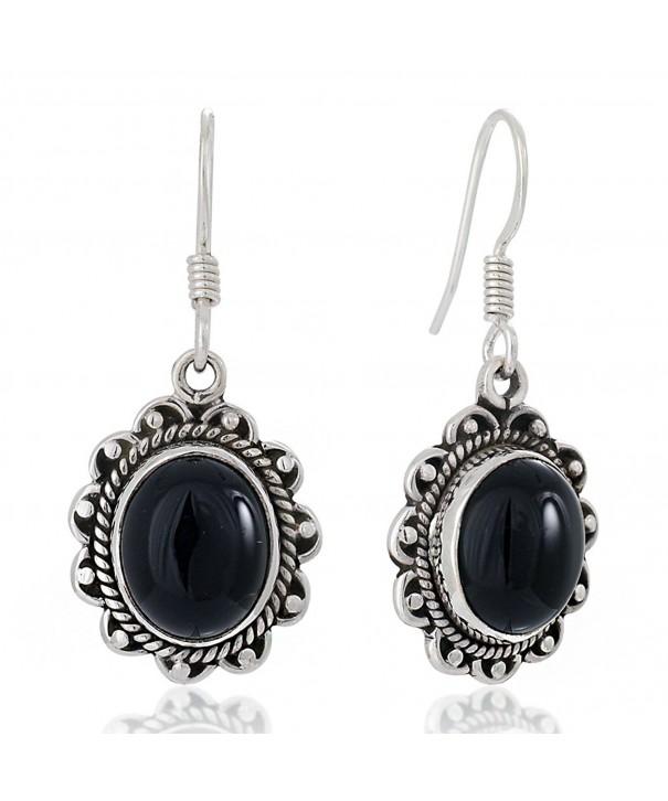 Oxidized Sterling Gemstone Vintage Earrings