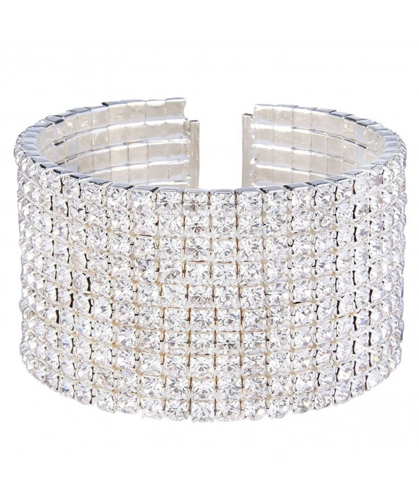 EleQueen Silver tone Austian Crystal Bracelet
