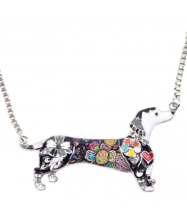 Bonsny Enamel Dachshund Necklace pendant