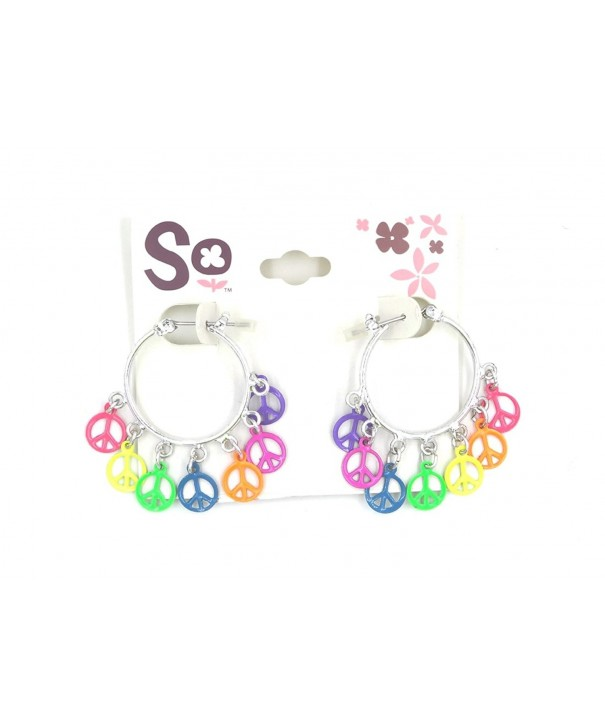 Pair Colorful Rainbow Peace Earrings