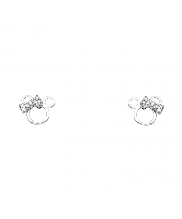 White Gold Mouse Earrings Screw