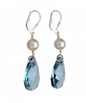 Sterling Leverback Earrings Simulated Swarovski